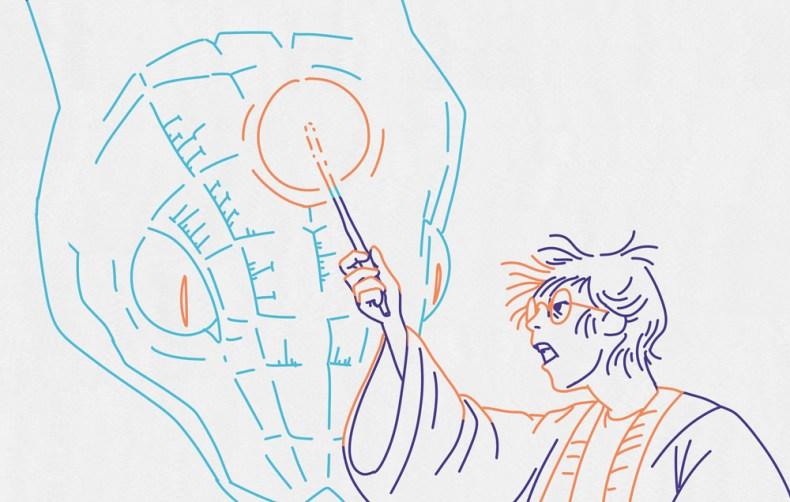 Au coeur de Poudlard, Harry Potter cherche le terrible basilic, un serpent géant effrayant