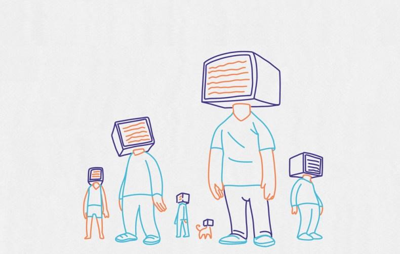 Des êtres humain avec un écran sur la tête