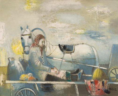 Женщина едет на телеге