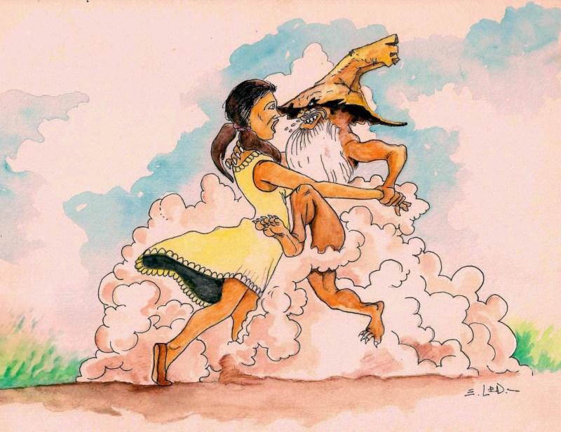 Foto: Pombero Pícaro, por Eugenio Led. Ilustración. 21 x 29,7 cm.