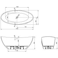 Hoesch Namur Oval-Badewanne 150 x 70 cm freistehend 4405 ...