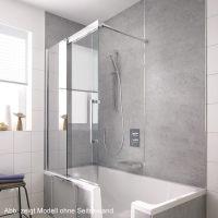 HSK K2P Badewannenaufsatz Gleittr 2-teilig und Seitenwand ...
