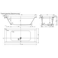Megabad Architekt 100 Badewanne 180 x 80 cm MB1280C - MEGABAD