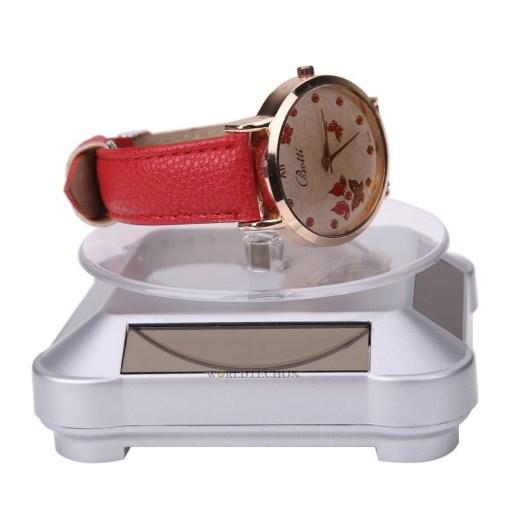 Soporte giratorio de 360° exhibidor de objetos color blanco con reloj mega bahía