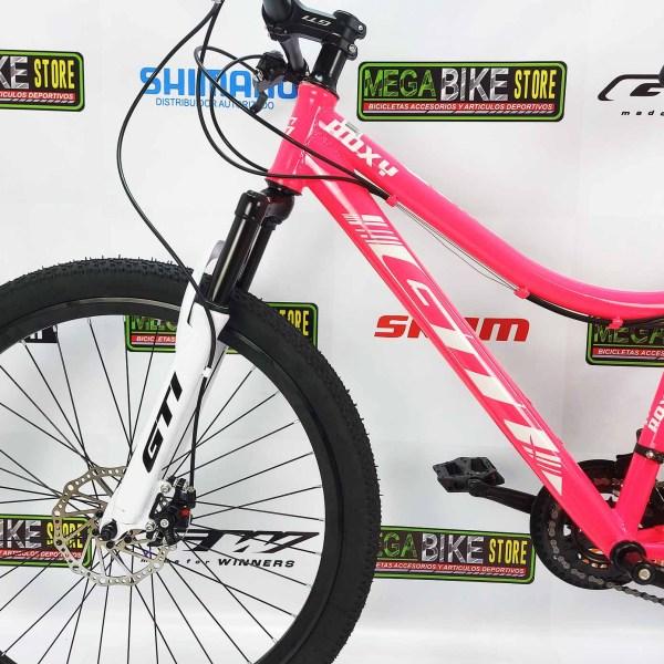 Bicicleta-guayaquil-mtb-montañera-talla-mega-bike-store-bike-shimano-gti-roxy-acero-rosada-blanco