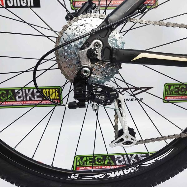Bicicleta-guayaquil-mtb-montañera-talla-mega-bike-store-bike-shimano-hawk-savage-aro29-aluminio-negro-dorado