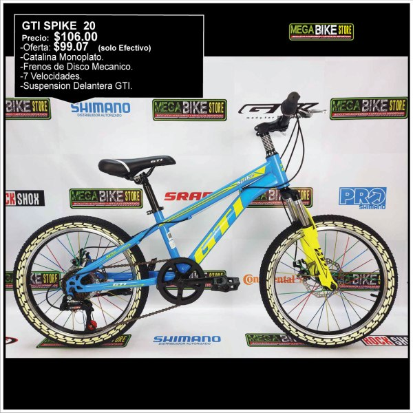Bicicleta-guayaquil-mtb-montañera-talla-mega-bike-store-bike-shimano-gti-spike-aro-20-acero-amarillo-azul