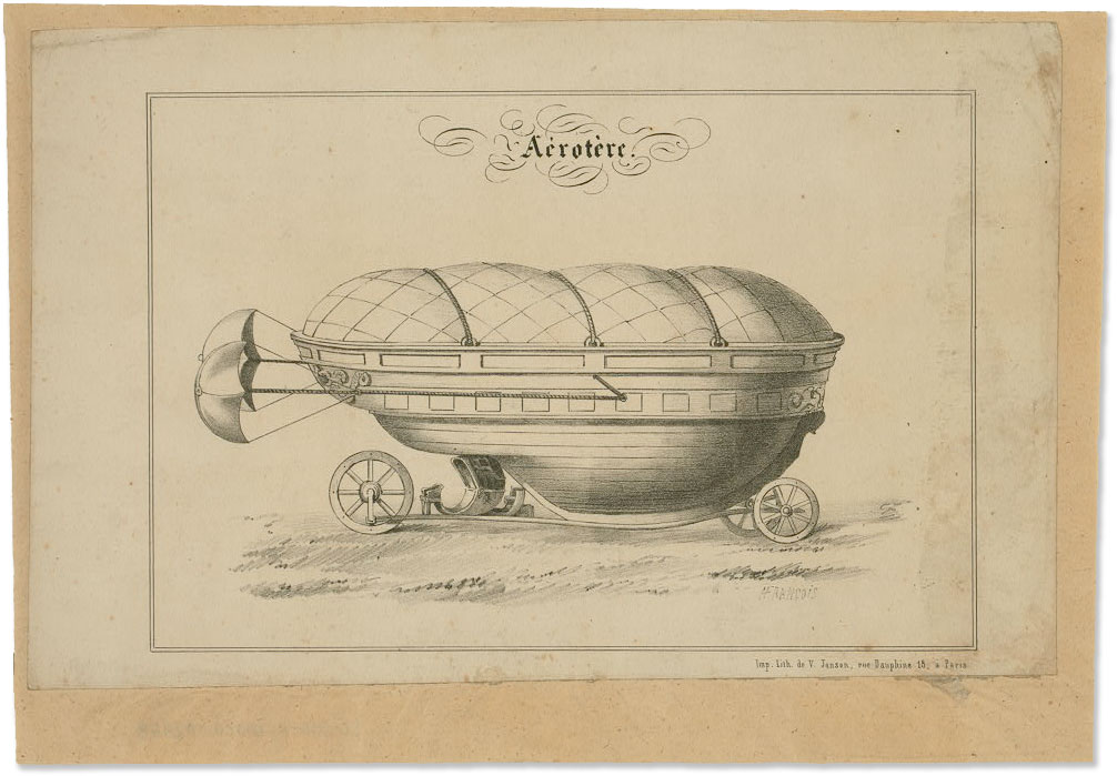 Boat-like Vehicle on Wheels with Parachutes :: 1800s :: Tissandier Collection