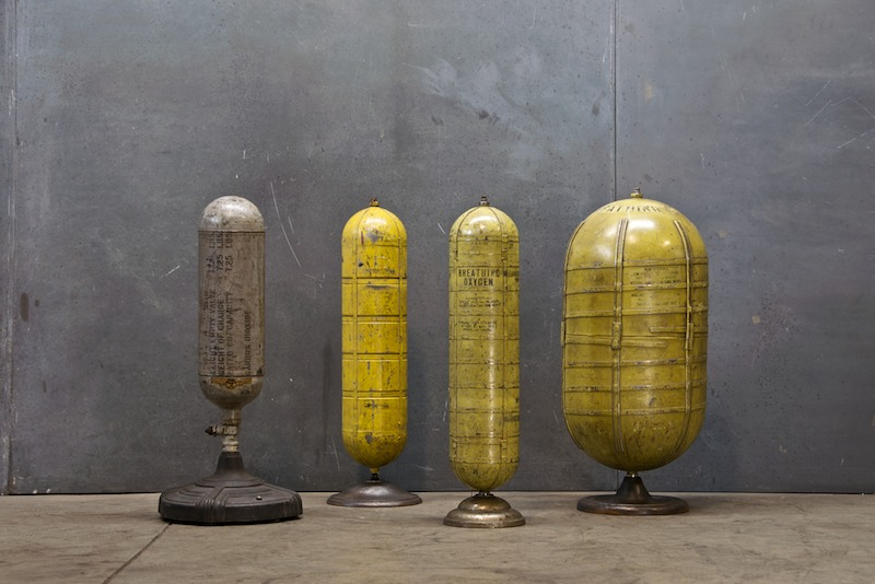 Vintage Industrial Steel Tank Sculptures