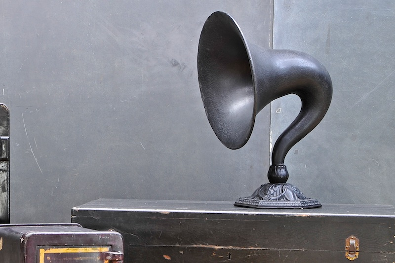 Old Talking Machine Horn on Stand, Victorian Tabletop Speaker.