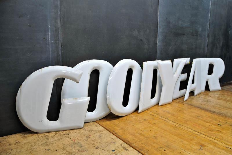 Vintage and Large porcelain letter set, for Goodyear Tire Center