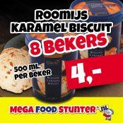 roomijs karamel biscuit 8 beker 4 euro