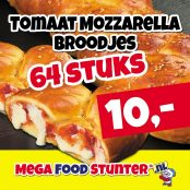 tomaat mozzarella broodjes 64 stuks 10 euro