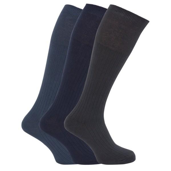 Mens Ribbed Knee High 100 Cotton Socks Pack Of 3