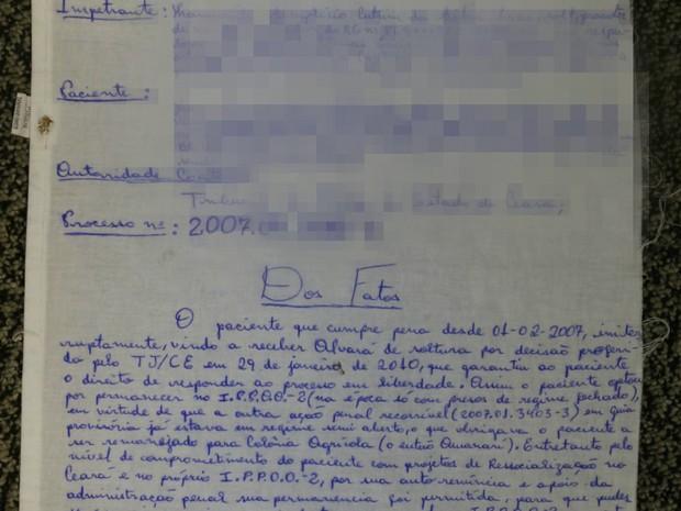 Habeas corpus escrito em lençol