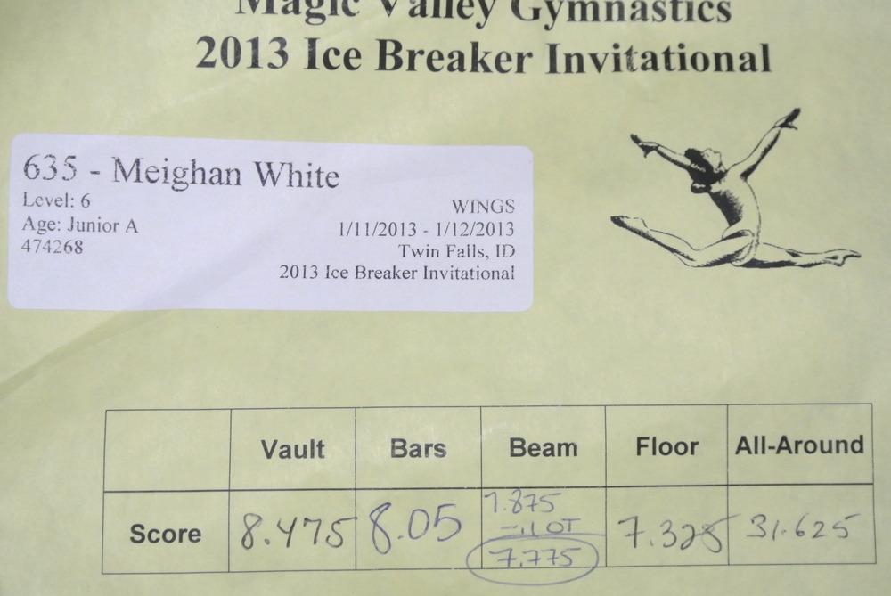 Ice Breaker Invitational Score Card - Level 6