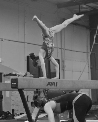 Intrasquad Meet 2013 Beam - Level 7 - Now press up to hand stand