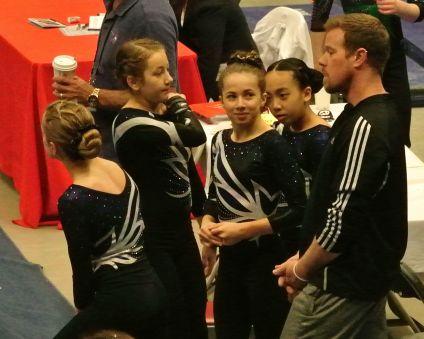 Region 2 Championships 2016 Pep Talk - Level 8 (Left to Right: Hattie, Magdalena, Em, Aubrey, Coach Jesse)