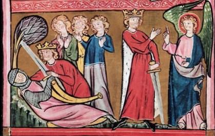 Encuentran a Roland muerto, manuscrito de San Galo, S. XIII
