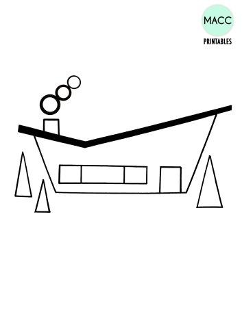 Midcentury-House-Printable-Template