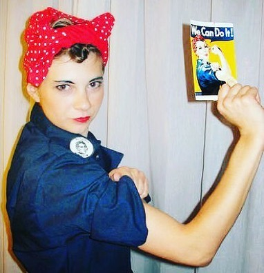 DIY Halloween Throwback: Rosie the Riveter. We can do it 2005/2006. The entire costume was thrifted. I found a vintage navy work jumpsuit, cut up a kid's shirt for the red polka dot bandana, put my hair in pin curls, laminated a paper printed patch, and sketched on eyebrow makeup