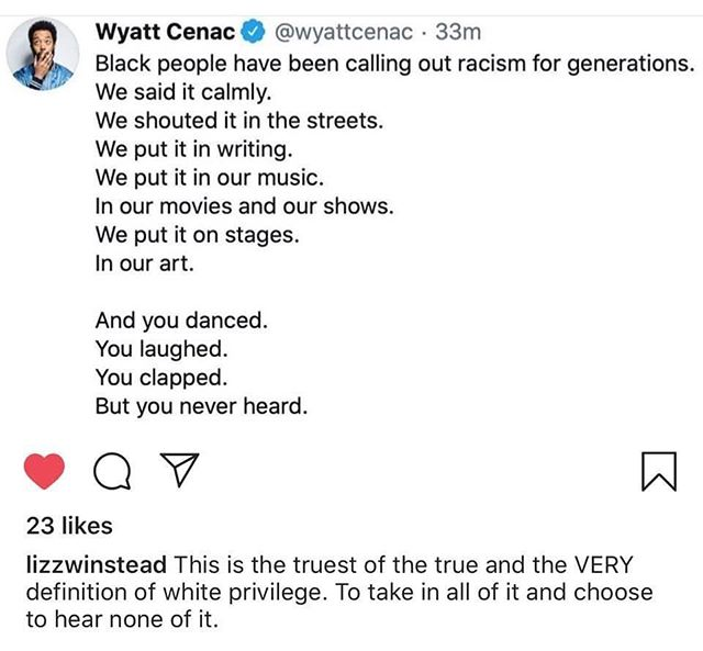 Thank you to those of you who are still here listening and learning with me. With so many of us. I am unfollowing anyone NOT doing the work and I'm totally cool with any white privileged folks unfollowing me. Because this.  This post. I admit that it unmoored me. It unmoored me because it's true.  We have failed. White people have really failed our Black brothers and sisters and I thought I knew how much we failed but then I'll hear, see, or read something that reveals another layer of white privilege that I contributed to and it's on a new level.  We have to do better, and I put it on me. I HAVE to do better. I was never blind to it, but my eyes failed to fully see. No more.
