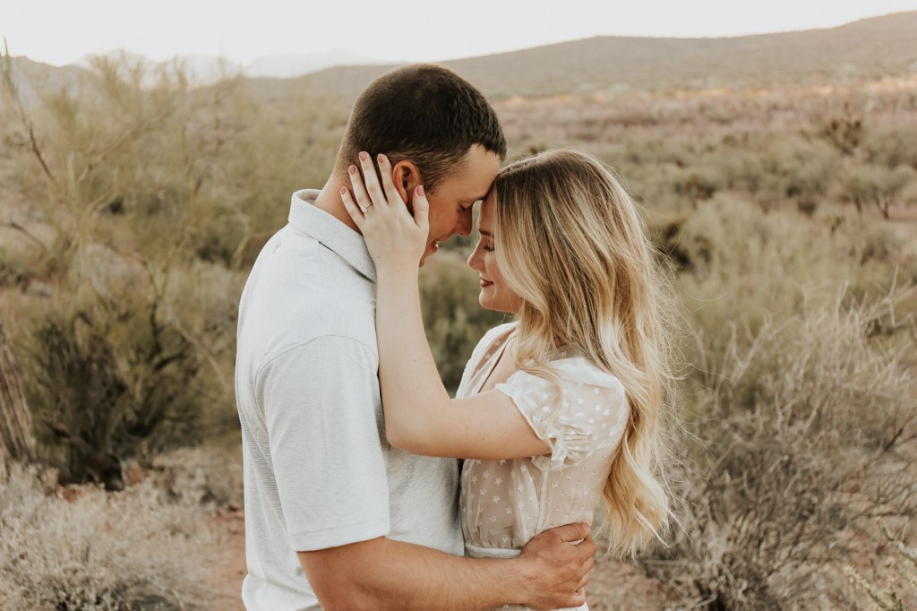 Megan Claire Photography | Arizona Wedding Photographer @meganclairephoto. Bohemian desert engagement photoshoot by the river.