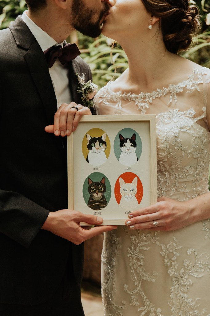Megan Claire Photography | Arizona Wedding Photographer. Vintage inspired greenhouse arboretum wedding. Bridal party holding prints of cats @meganclairephoto