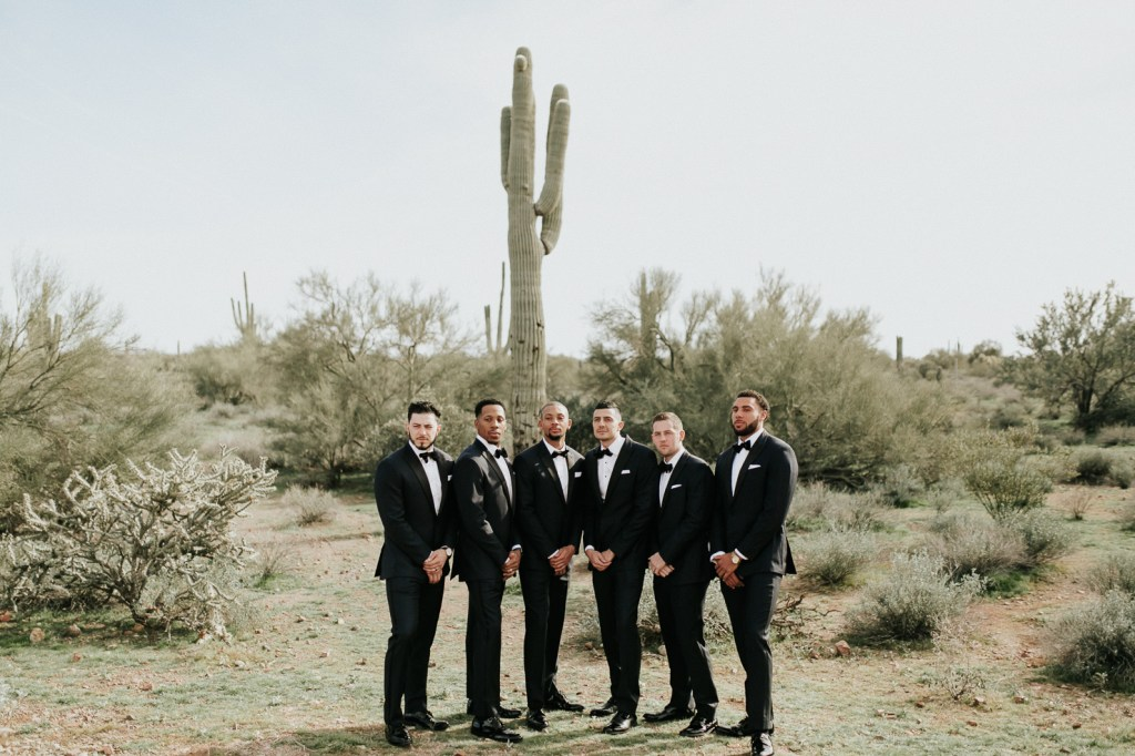Megan Claire Photography | Arizona Wedding Photographer. Beautiful winter wedding in the desert at the Paseo in Apache Junction, Arizona near superstition mountains. Groomsmen in tuxes