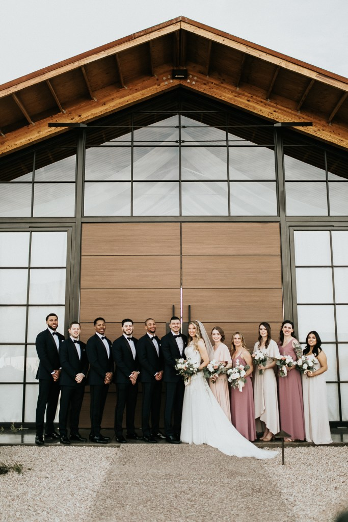 Megan Claire Photography | Arizona Wedding Photographer. Beautiful winter wedding in the desert at the Paseo in Apache Junction, Arizona near superstition mountains. Bridal party photos at the Paseo