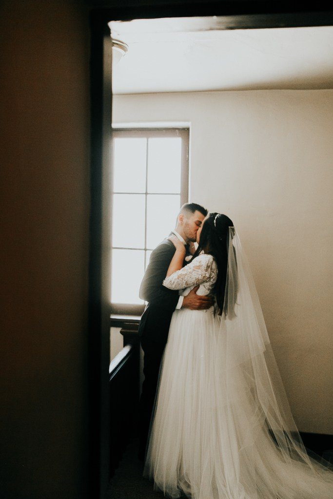 Megan Claire Photography | Arizona Wedding Photographer. Beautiful church wedding. Bride and groom portraits in stairwell