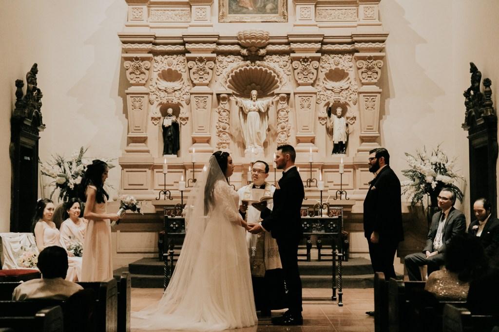Megan Claire Photography | Arizona Wedding Photographer. Beautiful spring wedding. Indoor church wedding ceremony in the at Brophy Chapel in Phoenix Arizona