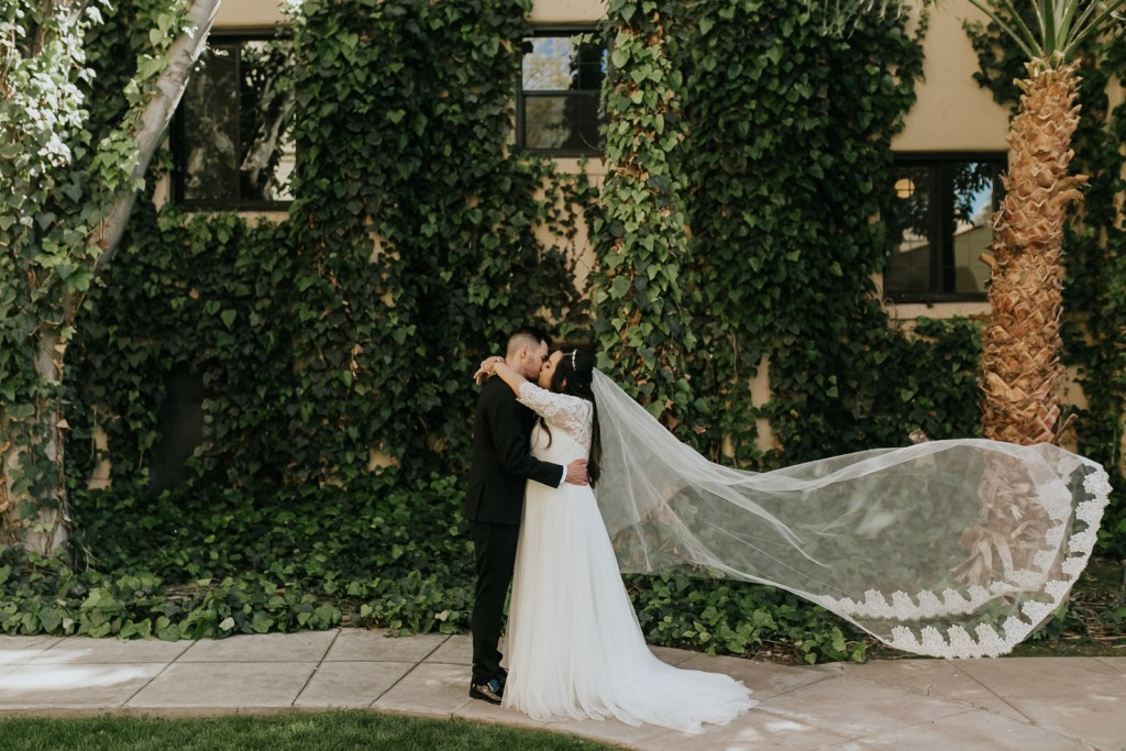 Megan Claire Photography | Arizona Wedding Photographer. Beautiful church wedding. Bride  and Groom portraits at Brophy Chapel in Phoenix Arizona