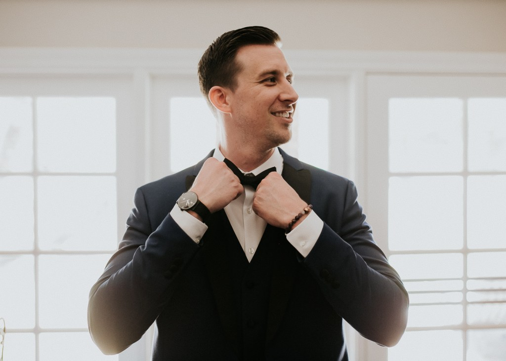 Megan Claire Photography | Arizona Wedding Photographer. Beautiful summer wedding in the desert at the Wright House in Mesa, Arizona. Groom getting ready on wedding day