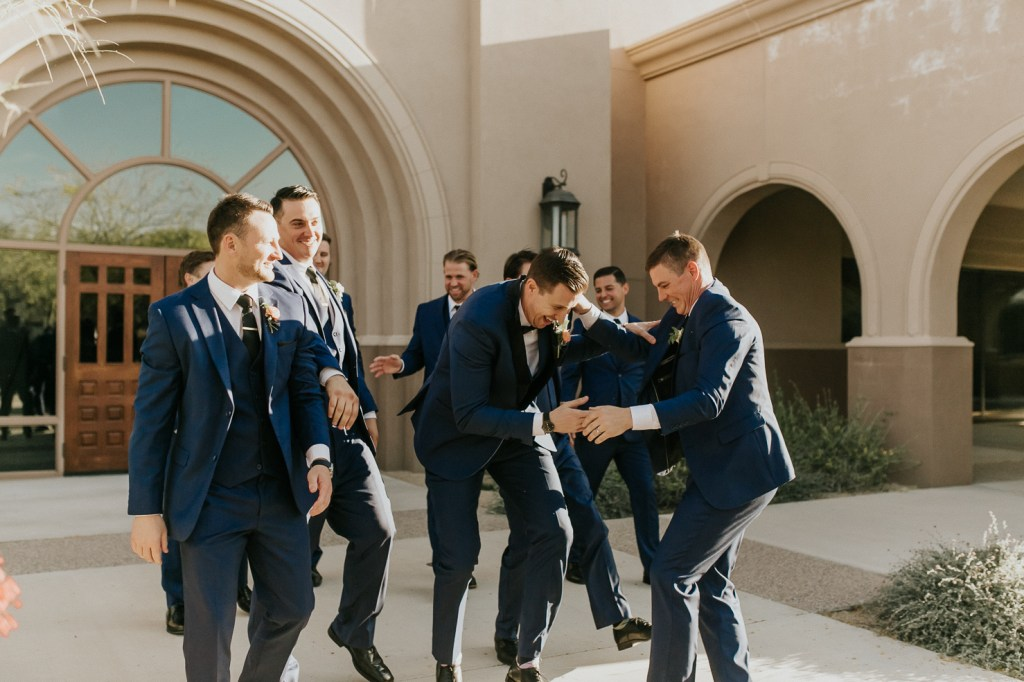 Megan Claire Photography | Arizona Wedding Photographer. Beautiful summer wedding in the desert at the Wright House in Mesa, Arizona. Groomsmen wearing blue and black tuxes