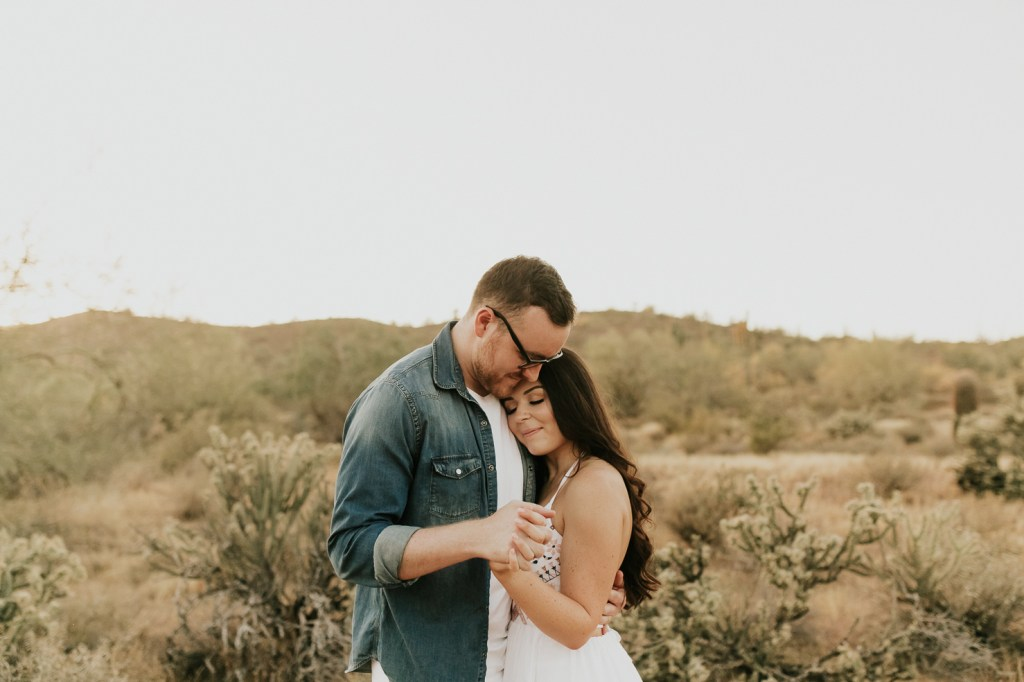 Megan Claire Photography | Phoenix Arizona Wedding and Engagement Photographer.  arizona desert engagement session at sunset @meganclairephoto