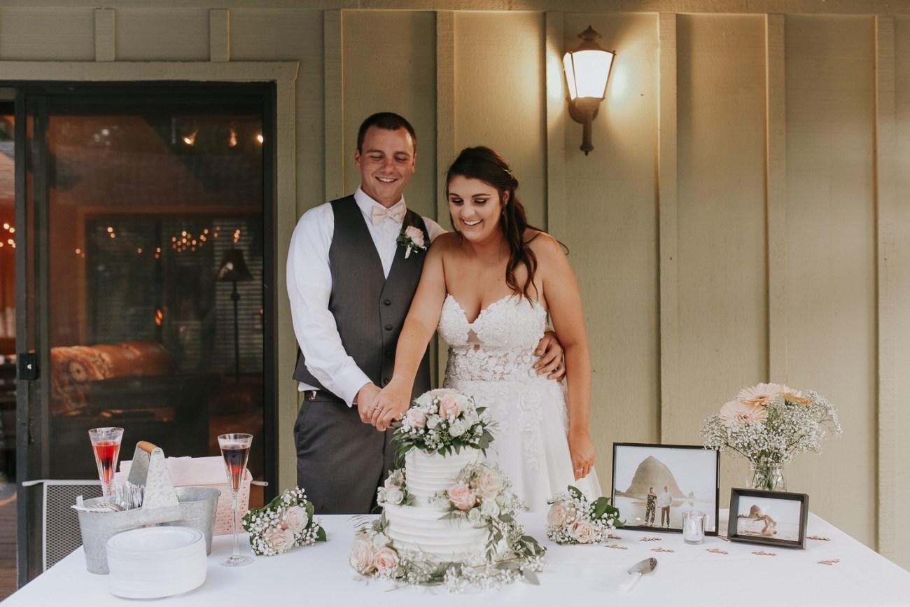 Megan Claire Photography | Arizona Wedding Photographer | Megan-Claire.com | Beautiful summer wedding in Portland, Oregon. Summer forest wedding inspiration. Bride and groom cutting cake photos