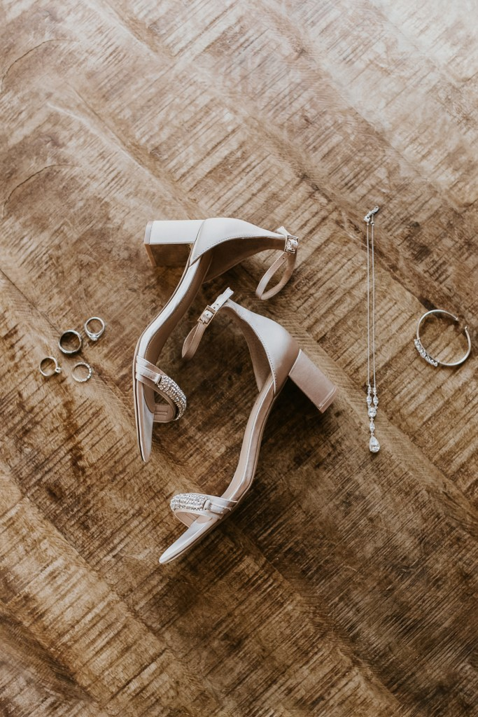 Megan Claire Photography | Arizona Wedding Photographer. Beautiful fall wedding in the desert at the Paseo in Apache Junction, Arizona near superstition mountains. Beaded heels for wedding day. Wedding detail shot