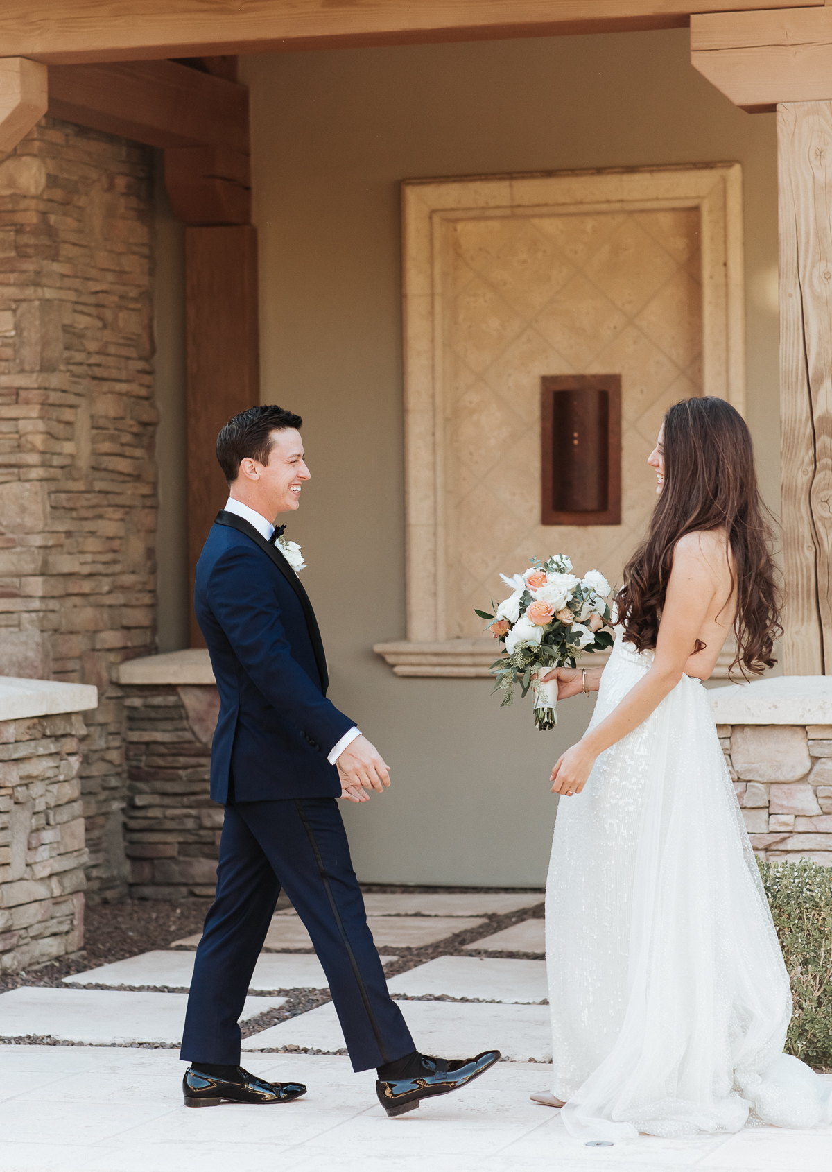 Megan Claire Photography | Arizona Wedding Photographer.  Elegant Scottsdale Backyard Wedding. First Look