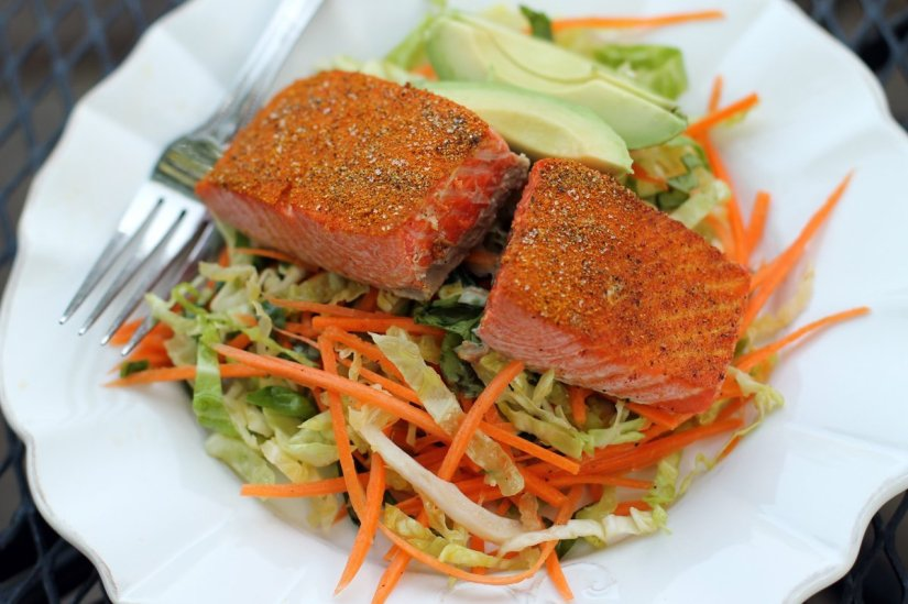 simple slaw with salmon