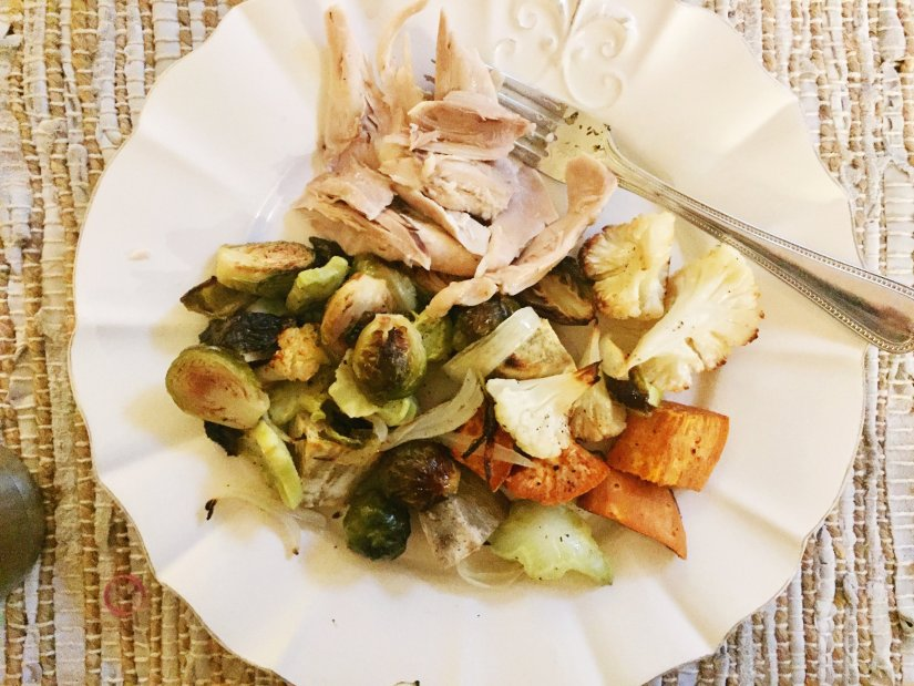 slow roasted whole chicken and roasted vegetables