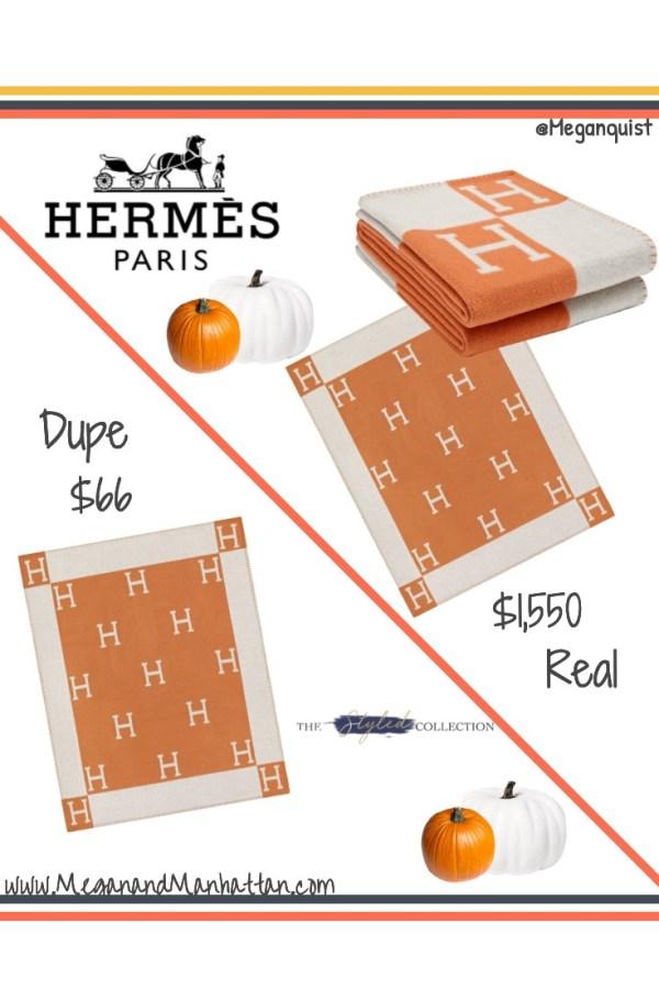 """Hermes Avalon Throw Blanket """"H"""" Blanket Dupe"""