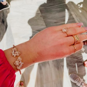 Pandora teardrop Ring & Kate Spade Rose Gold Clasp Bracelet