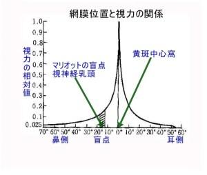 中心偏位と視力変化の図表