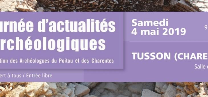 Journée d'actualités archéologiques du Poitou et des Charentes à Tusson (Charente)