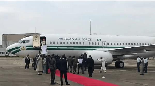 President Buhari Arrives in Lagos