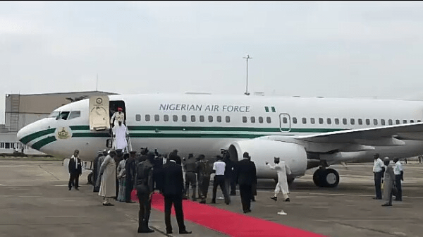 President Buhari Arrives in Lagos