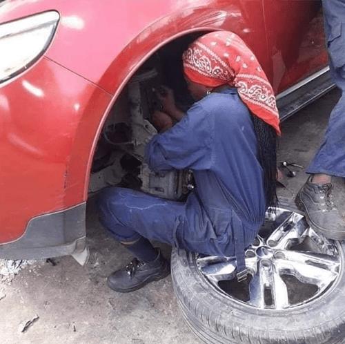 Meet Pretty Lady Working As A Mechanic In Abuja (Photos)