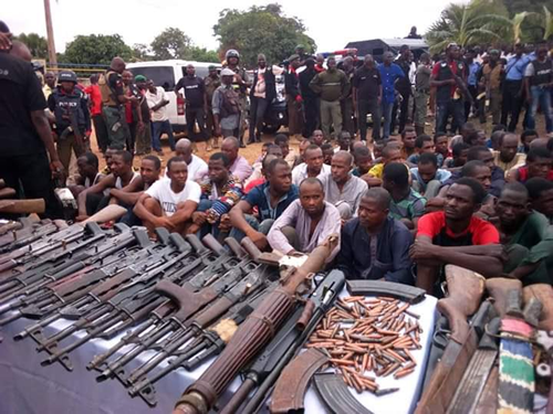 Police parade 93 suspected kidnappers on Kaduna-Abuja road