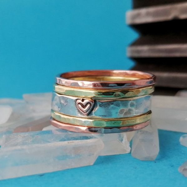 Sterling Silver Rustic Stack 5 Rings